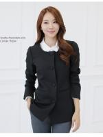 เสื้อสูทสไตล์เกาหลี สีดำ/สีชมพู (XL,2XL,3XL) JK-9520