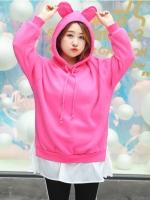 เสื้อสเวตเตอร์ไซส์ใหญ่ สีชมพูบานเย็น มีฮู้ดหูกระต่ายน่ารัก แขนยาว (XL,2XL,3XL) QS868