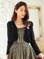 เสื้อคลุมลูกไม้หวาน เอวลอย แขนยาว สีดำ (XL,2XL,3XL)