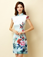 ชุดกี่เพ้าสั้นผ้าซาตินยืดสไตล์คลาสสิก คอจีน กระดุมจีน แขนในตัว สีพลัม (XL,2XL,3XL)