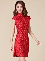 ชุดกี่เพ้าสั้นสีแดงลายดอกไม้สวย (XL,2XL,3XL)