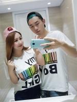 เสื้อคู่รัก เสื้อยืดไซส์ใหญ่ สีขาว/สีดำ คอกลม แขนสั้น (XL,2XL,3XL,4XL)