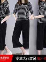 ชุดเซ็ทคนอ้วน เสื้อยืดลายขวาง+กางเกงชีฟองขาสี่ส่วน (XL 2XL 3XL 4XL) L-17185