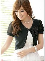 เสื้อคลุมชีฟองแขนสั้นแต่งโบว์ดอกไม้ สีดำ (XL,2XL,3XL) JK•1127