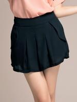 กางเกงชีฟองยืดขาสั้น จีบทวิสรอบ เอวหลังใส่ยางยืด กระเป๋าล้วงสองข้าง เบจ/ดำ ไซส์ XL 2XL 3XL 4XL