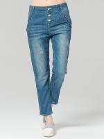 กางเกงยีนส์ขายาว เอวสูง ติดกระดุม (L,XL,2XL,4XL)