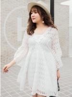 ชุดเดรสผ้าลูกไม้สีขาว คอวี แขนกระดิ่ง (XL,2XL,3XL)