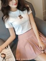 เสื้อยืดแฟชั่นตัวเล็กสีพื้น ปักลายหมีน่ารักๆ สีขาว (7141A)