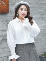 ♥พร้อมส่ง♥ เสื้อเชิ้ตสีขาวไซส์ใหญ่ ติดกระดุม แขนหมูแฮมดูหรูหราเพิ่มความไฮให้กับเสื้อ (2XL,3XL) YS028
