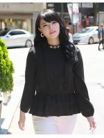 ++พร้อมส่ง++ เสื้อชีฟอง แต่งช่วงเอวด้วยผ้าลูกไม้เกาหลี สีดำ (5XL)