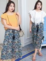 ชุดเซ็ท 2 ชิ้น เสื้อชีฟองสีพื้น+กางเกงพิมพ์ลายขาสามส่วน เอวยางยืด พร้อมกางเกงกันโป๊ด้านใน สีขาว/สีเหลือง (XL,2XL,3XL,4XL) ZX0754