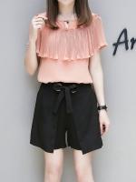 ชุดเซ็ทไซส์ใหญ่ 2 ชิ้น เสื้อชีฟองสีชมพู+กางเกงขาสั้นสีดำ (XL,2XL,3XL,4XL,5XL)
