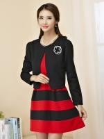 ชุดเซ็ทไซส์ใหญ่ 2 ชิ้น เสื้อคลุม+เดรส (เสื้อสีแดง/เสื้อสีดำ) [XL,2XL,3XL]