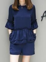 ชุดเซ็ท 2 ชิ้น สีน้ำเงิน เสื้อ+กางเกงขาสั้น เอวยางยืด (XL,2XL,3XL,4XL,5XL)
