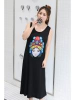 ชุดเดรสยาวแขนกุดสีดำลายรูปหน้าหญิงสาว สวมใส่สบาย (XL,2XL,3XL,4XL)