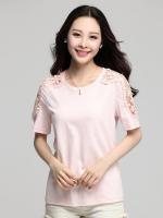 เสื้อยืดไซส์ใหญ่ แขนลูกไม้ฉลุสวย สีชมพู (XL,2XL,3XL,4XL)