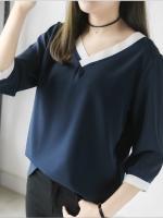{พร้อมส่ง} เสื้อชีฟองคอวีสีน้ำเงิน (XL,2XL,3XL)