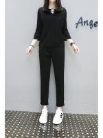 ชุดเซ็ทสีดำ 2 ชิ้น เสื้อแขนสี่ส่วน+กางเกงขายาว (XL,2XL,3XL,4XL,5XL)