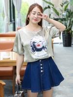 เสื้อทีเชิ้ตผ้าไหมซาติน สีแชมเปญ คอกลม แขนสั้น ภาพมาริลีน มอนโร่ (XL,2XL,3XL,4XL) ZX-0619