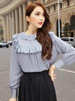 เสื้อชีฟองแขนยาวไซส์ใหญ่สไตล์เกาหลี สีเทา (F,XL,2XL,3XL,4XL,5XL)