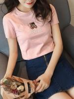 เสื้อยืดแฟชั่นตัวเล็กสีพื้น ปักลายหมีน่ารักๆ สีชมพู (7141B)