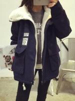 ++พร้อมส่ง++ เสื้อกันหนาวไซส์ใหญ่ ผ้าฝ้ายบุผ้าขนแกะ สีดำ (2XL)