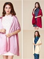 ผ้าคลุมไหล่แฟชั่น สีม่วง/สีแดง/สีแชมเปญ ผ้าไหม