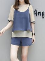 ชุดเซ็ท 3 ชิ้น เสื้อชีฟอง+เสื้อสายเดี่ยว+กางเกงขาสั้น สีน้ำเงิน (XL,2XL,3XL,4XL,5XL)