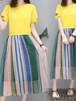 ++พร้อมส่ง++ เดรสตัดต่อลายเย็บติดกัน ตัวเสื้อสีเหลือง กระโปรงลายทาง (3XL)