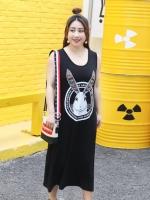 ชุดเดรสยาวแขนกุดสีดำรูปกระต่ายหูยาว สวมใส่สบาย (XL,2XL,3XL,4XL) ZX0524