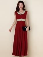 ชุดราตรียาวสวยสง่างาม ติดเพชรสวยไฮโซ แขนกุด สีไวน์แดง/สีดำ (XL,2XL,3XL)