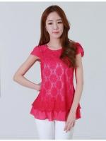 เสื้อยืดผ้าลูกไม้ สีแดงกุหลาบ แขนสั้น (XL,2XL,3XL,4XL)
