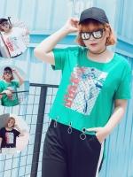 เสื้อยืดสตรีทแฟชั่นคอกลมสกรีนลาย สีดำ/สีเขียว (XL,3XL) Ai-2163