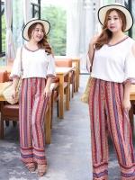 ++พร้อมส่ง++ ชุดเซ็ทไซส์ใหญ่ เสื้อชีฟองสีขาว คอวี + กางเกงขากว้างตัวยาว เอวยางยืดรูดผูกได้ (XL,2XL) TZ1060