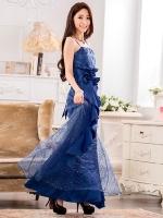 &#x2665พร้อมส่ง&#x2665 ชุดราตรีซาตินยาว ผ้าตาข่ายประดับเลื่อม สีน้ำเงิน (XL)