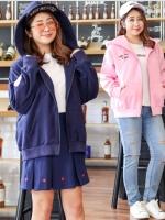 เสื้อแจ็คเก็ตกันหนาวไซส์ใหญ่ แขนยาว มีฮู้ด สีชมพู/สีน้ำเงิน (XL,2XL,3XL,4XL) SFK172