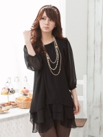 เสื้อชีฟองบางตัวยาว สีดำ XL 2XL 3XL