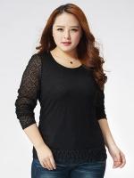 เสื้อผ้าลูกไม้ยืดแขนยาวไซส์ใหญ่สไตล์เกาหลี สีขาว/สีดำ (XL,2XL,3XL,4XL,5XL)