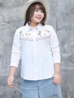 เสื้อเชิ้ตไซส์ใหญ่สีขาวแขนยาวสไตล์เวสเทิร์น (XL,2XL,3XL) Ai-1728