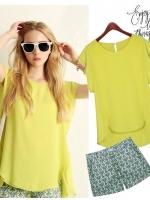 ++พร้อมส่ง++ ชุดเซ็ท 2 ชิ้น เสื้อชีฟองสีเหลืองอ่อน แขนสั้น + กางเกงขาสั้นพิมพ์ลายสวย (4XL,5XL)