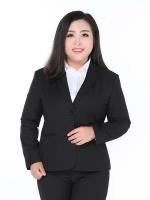 เสื้อสูทผู้หญิงอ้วนสีดำปกเทเลอร์แขนยาวติดกระดุมสองเม็ด (3XL,4XL,5XL,6XL,7XL,8XL,9XL) TX-23B
