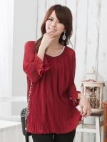 เสื้อชีฟอง สีแดงเข้ม XL 2XL 3XL 4XL
