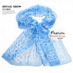 ผ้าพันคอแฟชั่นลายยีราฟ Giraffa : สีฟ้า CK0225