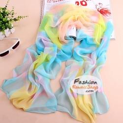 ผ้าพันคอแฟชั่นสวยหรู Luxury : สีฟ้าหวาน CK0052