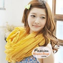ผ้าพันคอแฟชั่นเกาหลีสีพื้น Hot Basic : สีเหลือง CK0290