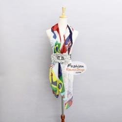 ผ้าพันคอแฟชั่นลายธงชาติ National Flag : สีขาว CK0238