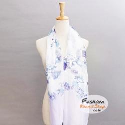 ผ้าพันคอแฟชั่นลายดอกไม้ : สีม่วง CK0262