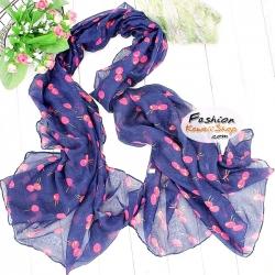 ผ้าพันคอแฟชั่น ลายเชอร์รี่สีชมพู : พื้นสีน้ำเงิน CK0351