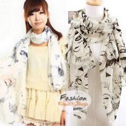 ผ้าพันคอแฟชั่นลายวินเทจ Vintage : สีขาว CK0138