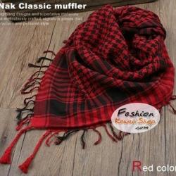 ผ้าพันคอชีมัค Shemash (เนื้อผ้า Viscose) : สีแดงดำ CV0008